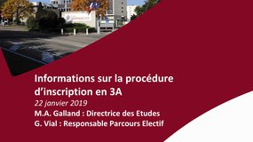 Informations sur la procédure d'inscription en 3A